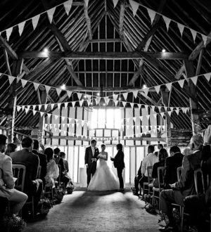 Civil ceremony in the Main Barn © Neale James Photography