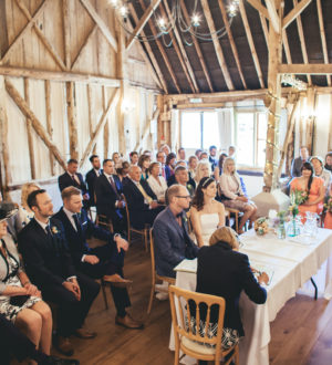 Bride and groom at the registrar at Clock Barn © New Forest Studio