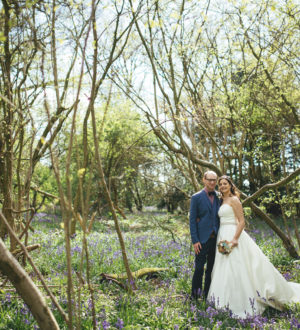 Bride and groom in the forest © New Forest Studio