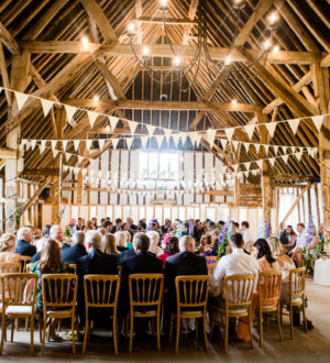 Family and friends inside Clock Barn © Lydia Stamps Photography