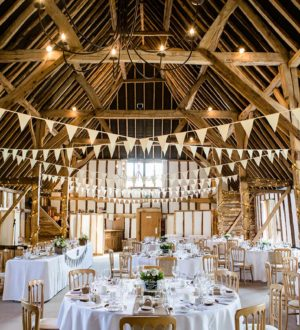 The Main Barn ready for a wedding breakfast  © Lydia Stamps Photography