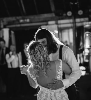 Bride and grooms first dance at Clock Barn © Lydia Stamps Photography