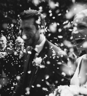 Bride and groom leaving the venue © Jackson & Co Photography