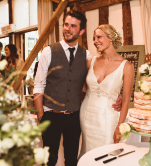 Bride and groom together in Clock Barn © Jackson & Co Photography