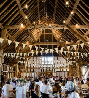 Wedding breakfast at Clock Barn © Lydia Stamps Photography