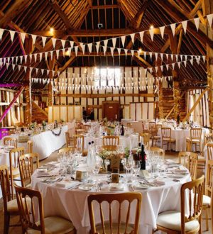 Ready for a wedding breakfast at Clock Barn © Lydia Stamps Photography