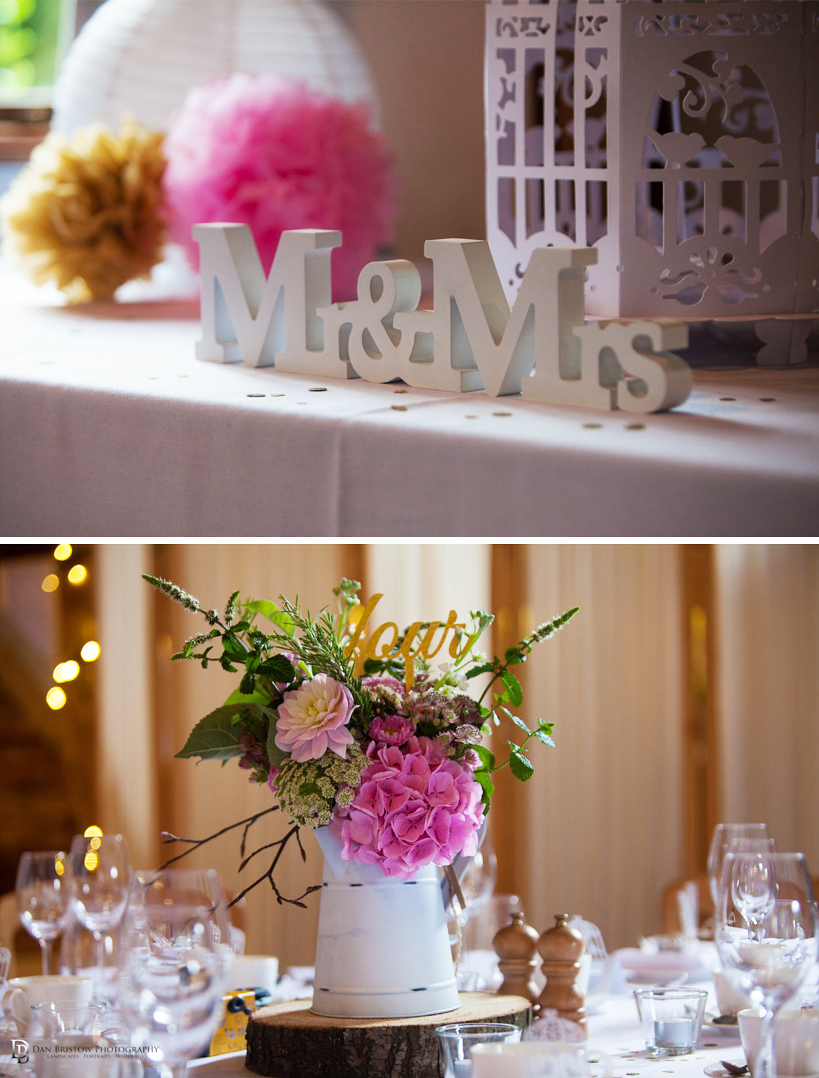 Mr and Mrs table decorations
