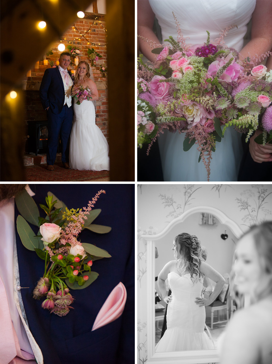 Brides trumpet-style wedding dress and pink bouquet