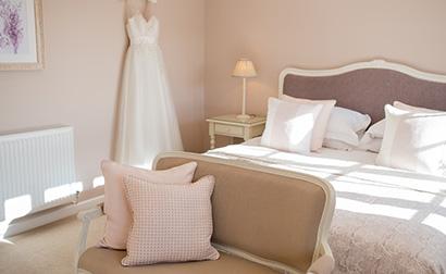 Newlyweds can spend their wedding evening in the elegant Lavender Barn wedding accomodation at Clock Barn