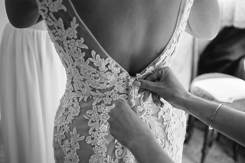 Bride getting ready in Lavender Barn