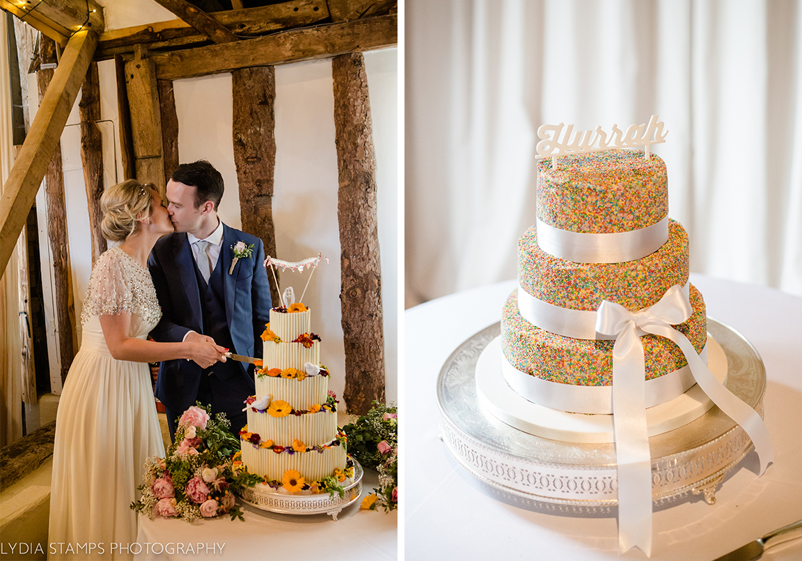 Bunting and calligraphy topped wedding cake