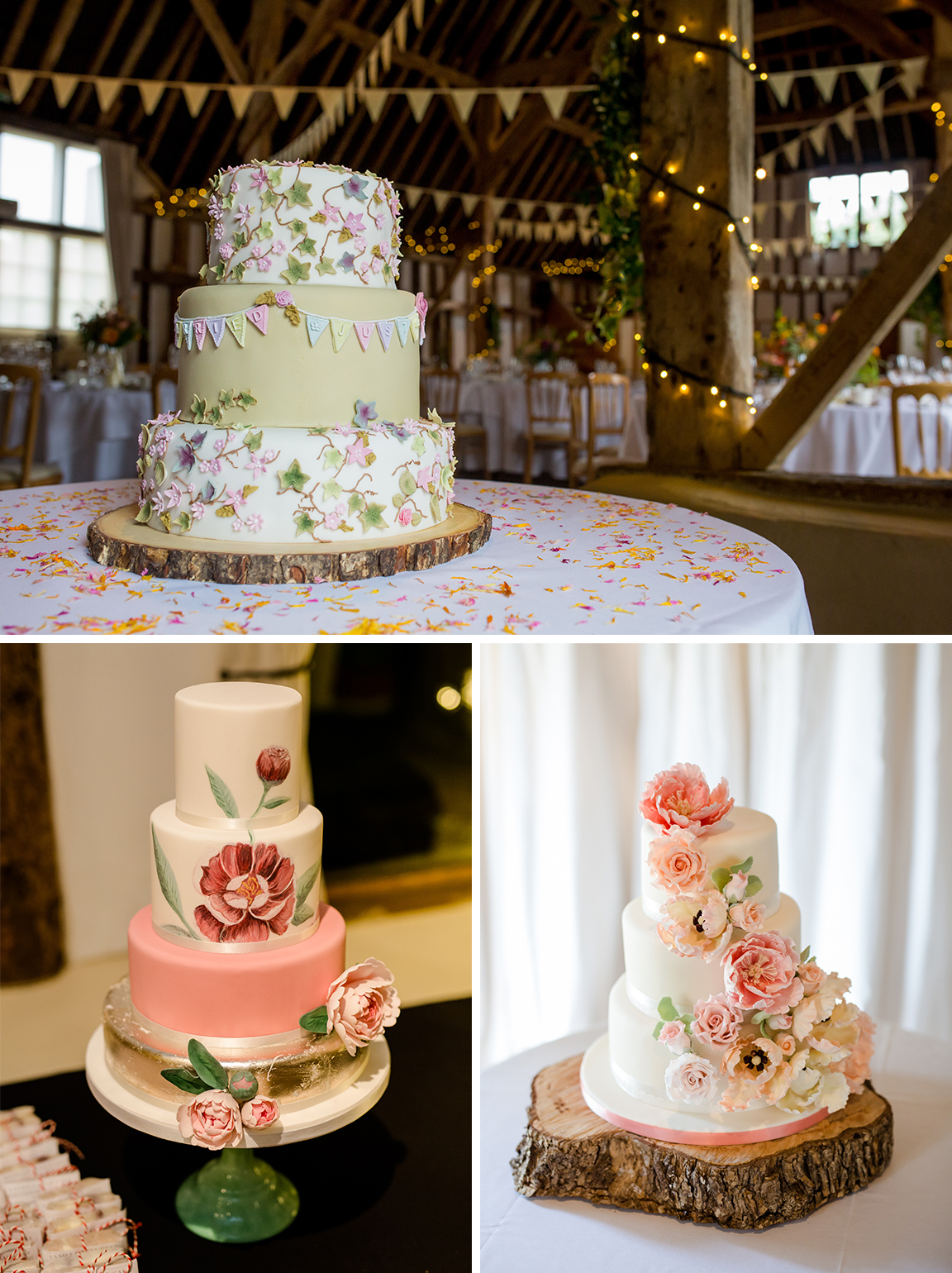 Pastel coloured wedding cakes