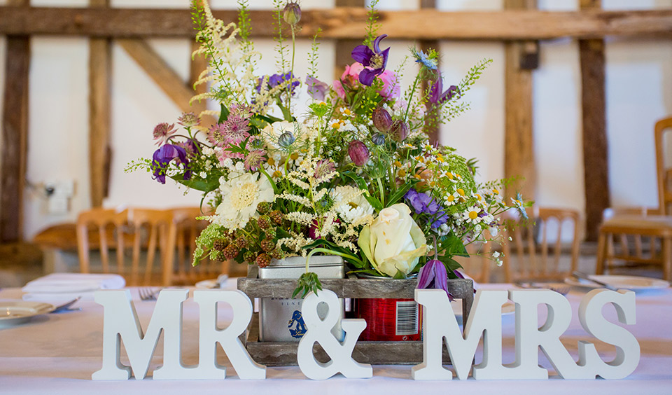 Mr and Mrs sign infront of a bunch of flowers