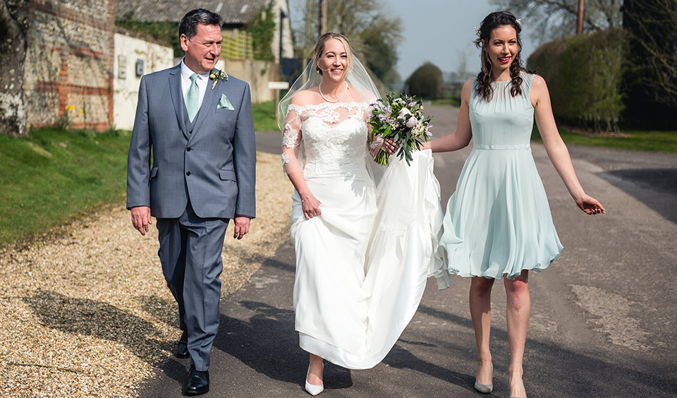 The sun was shining for the bride as she prepared to tie the knot at one of the most beautiful wedding venues in Hampshire