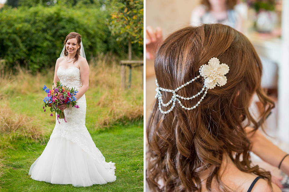 Rebecca looked beautiful in her wedding dress and embellished her wedding hair with pretty pearl hair jewellery
