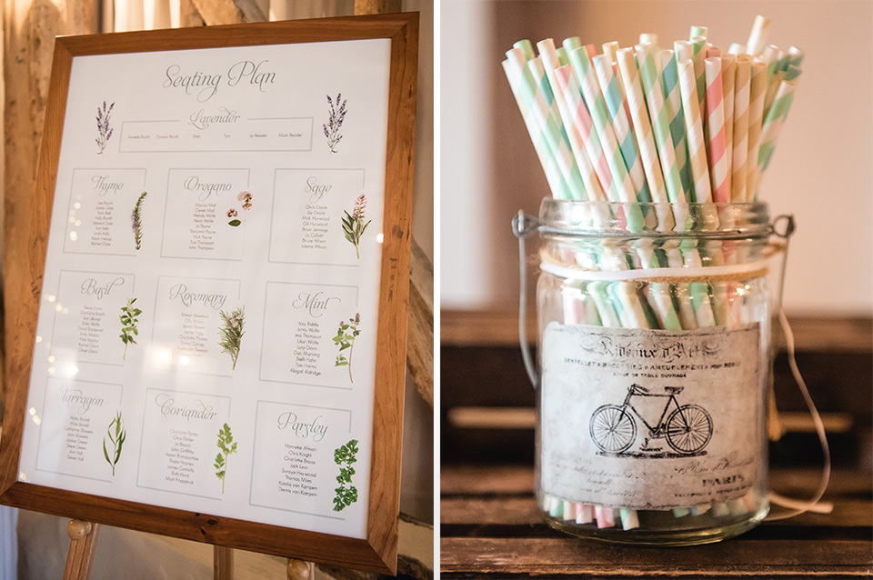 A herb-themed table plan and colourful touches brought this barn wedding venue in Hampshire to life.
