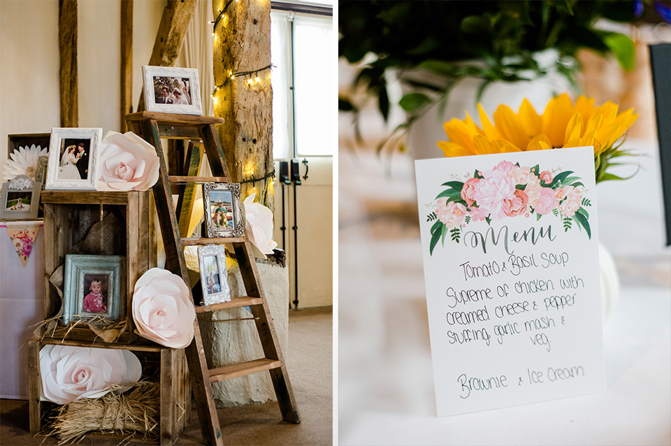 Photos of family are placed in frames on a wooden ladder with huge paper flowers to decorate – wedding ideas