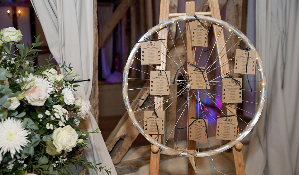 Use an old bike wheel as a quirky wedding idea to present your wedding table plan