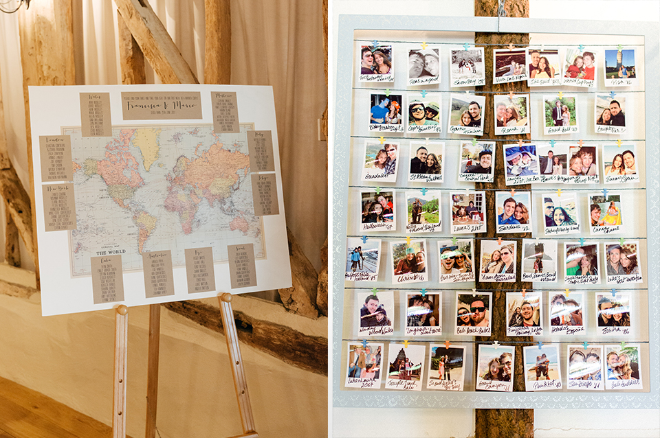 Using photos of your guests to make your wedding table plan is a fun wedding idea