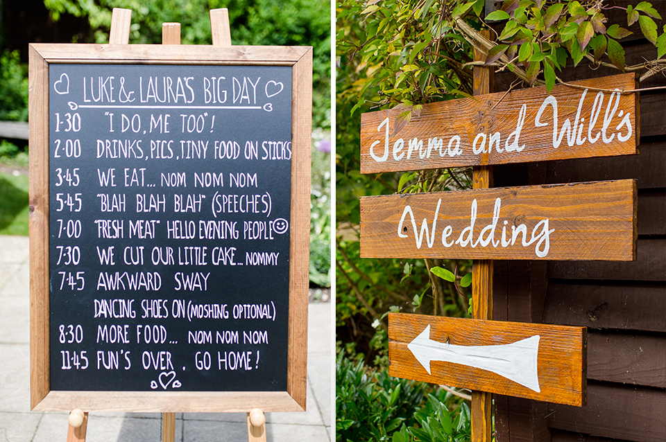 Using wooden wedding signs to direct guests around the wedding venue is practical and looks great