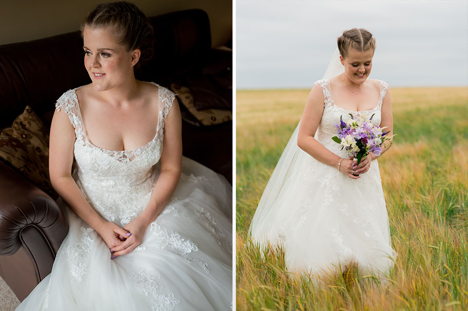 The bride looks beautiful in her wedding dress as she strolls through the countryside setting at Clock Barn