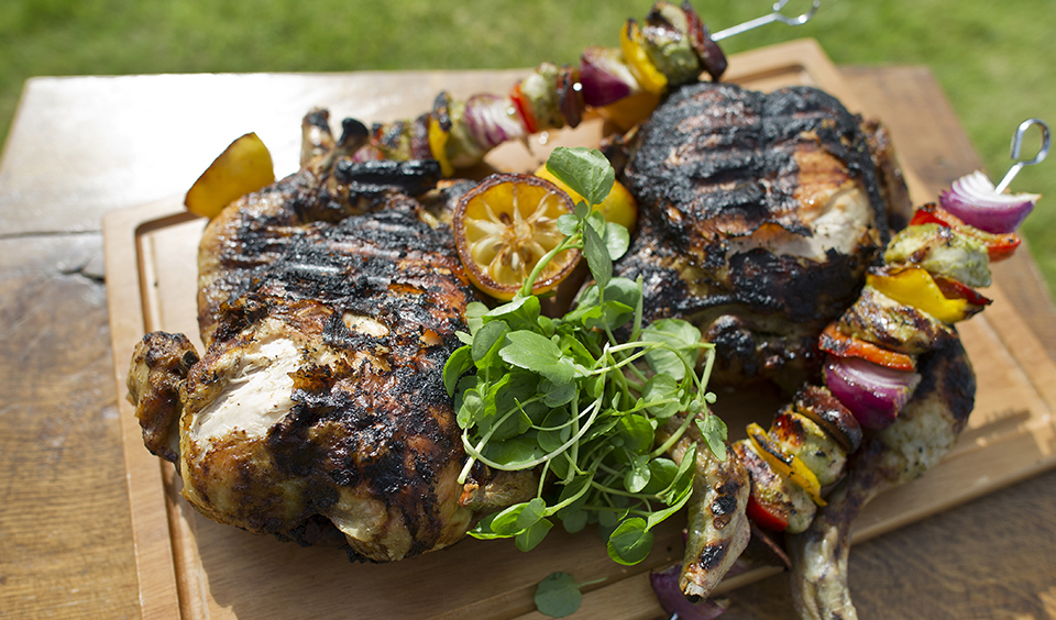 A close up of the tasty barbecue food created and served by our Galloping Gourmet team at Clock Barn