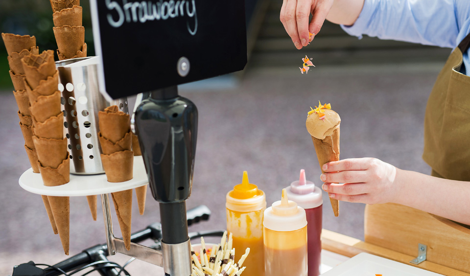 Guests can enjoy ice cream from Galloping Gourmet's own vintage ice cream bicycle