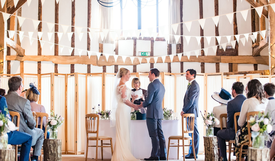 White bunting is the perfect rustic wedding accessory for a barn wedding