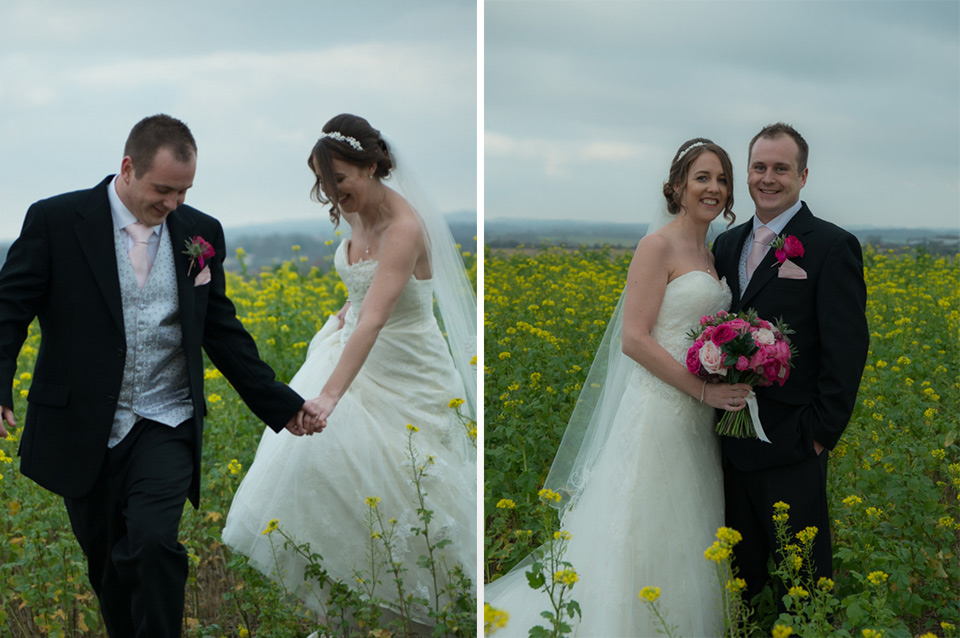 The happy couple stroll around the beautiful countryside surrounding one of the finest wedding venues in Hampshire