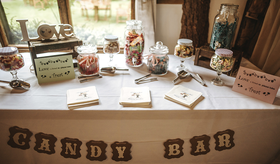 Guests were treated to a sweet buffet set up on a table in the barn – DIY wedding