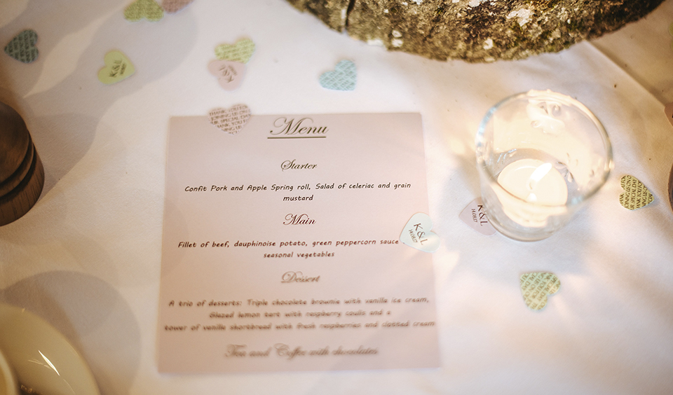 Each table was presented with a wedding menu detailing the delicious three course wedding breakfast to come