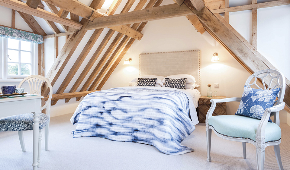 A beautiful guest bedroom with a striking yet sophisticated blue colour scheme – wedding accommodation
