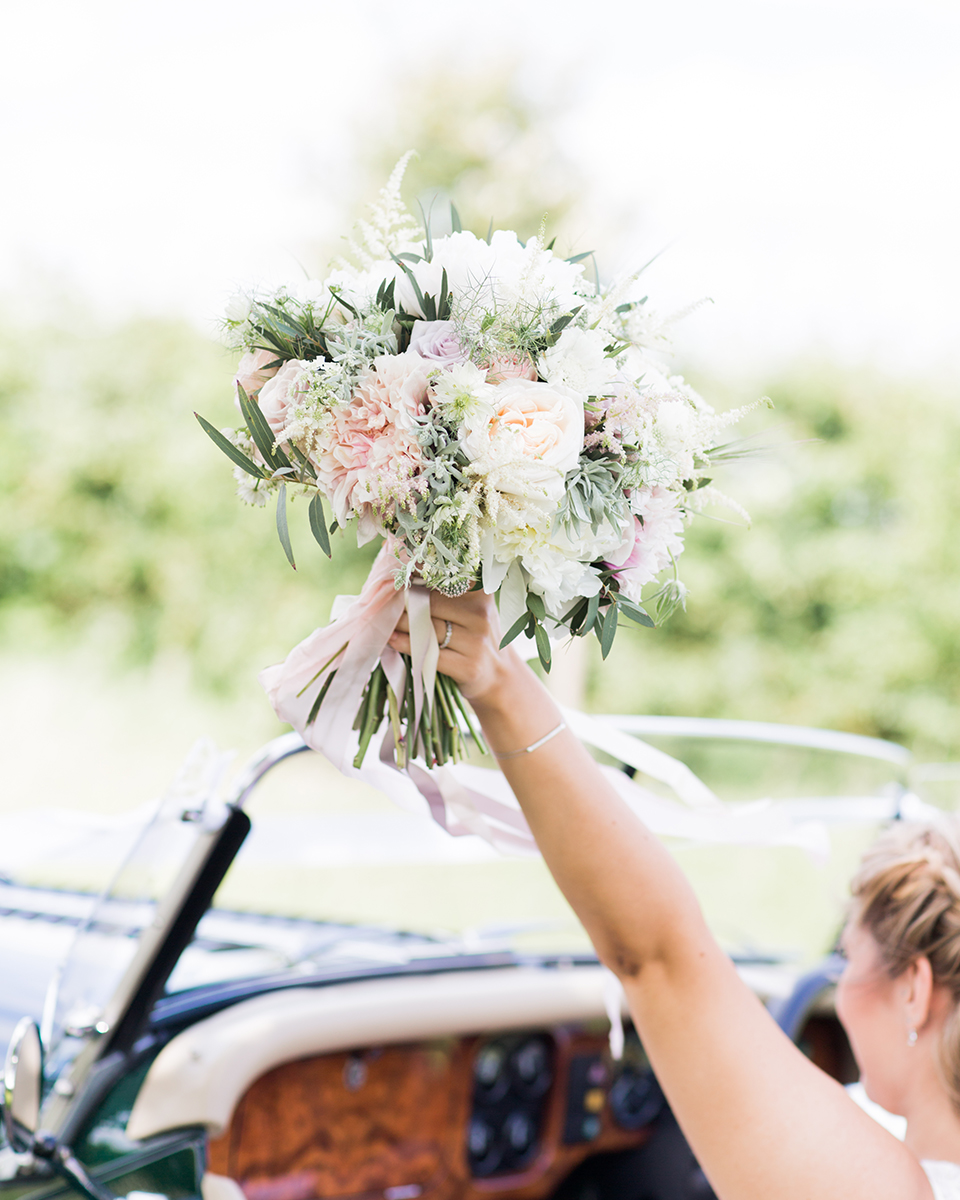 Mix different pale coloured flowers with a few touches of eucalyptus to create a beautifully natural bouquet
