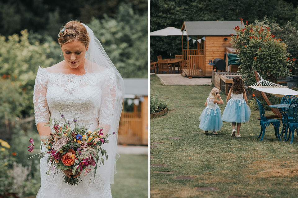 e4ddbe286 The bride wears vintage bridal gown and the flower girls take a stroll in  the gardens at Clock Barn Hampshire