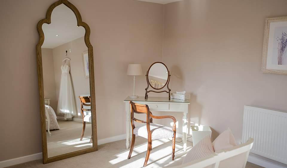 Complete with mirrors the bride and bridesmaids will enjoy their bridal preparations in the Lavender Barn