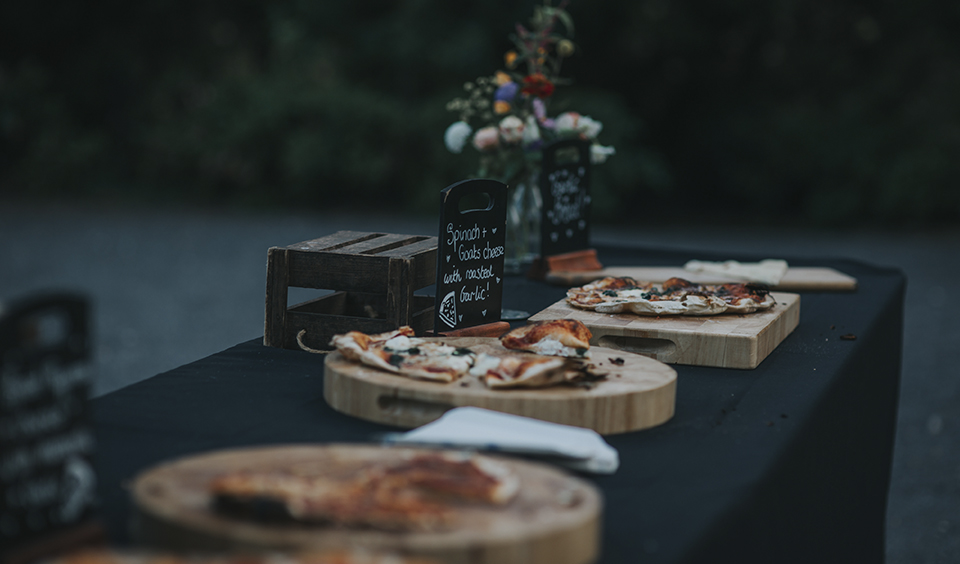 Woodfired pizzas were served as evening wedding food at Clock Barn Hampshire
