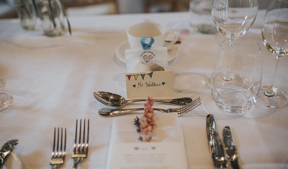 Handmade name cards at Clock Barn Hampshire- wedding ideas
