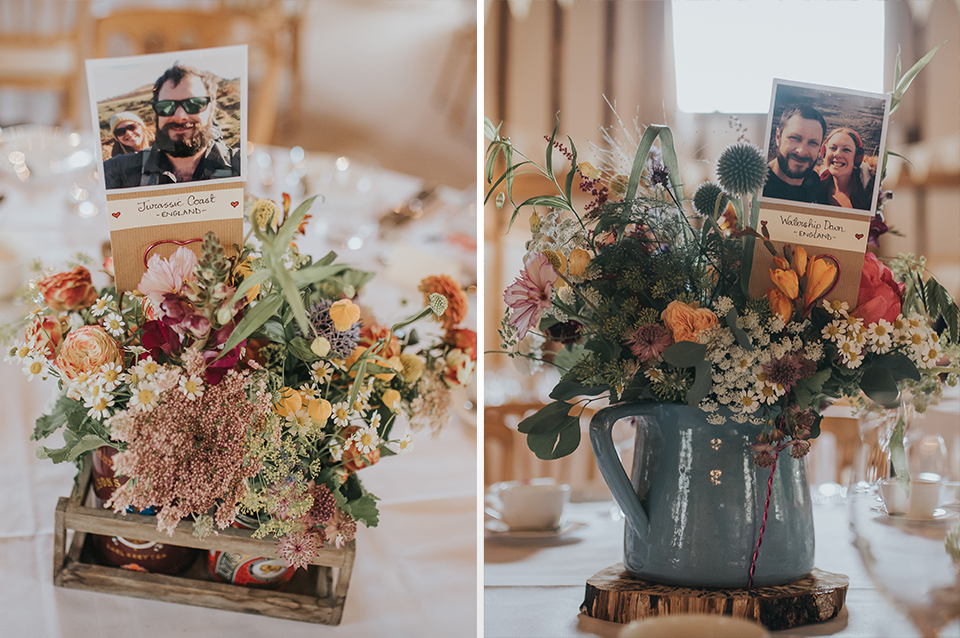 The bride chose colourful rustic wedding flowers for her bouquet and to decorate the church