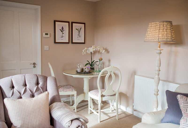The décor in the Lavender Barn wedding accommodation at Clock Barn is cosy tranquil and relaxed