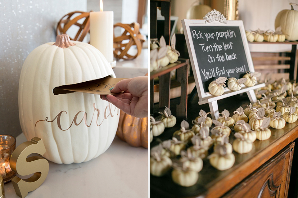 Turn pumpkins into post boxes for cards and use miniature pumpkins as place names for perfect autumn themed wedding decoration