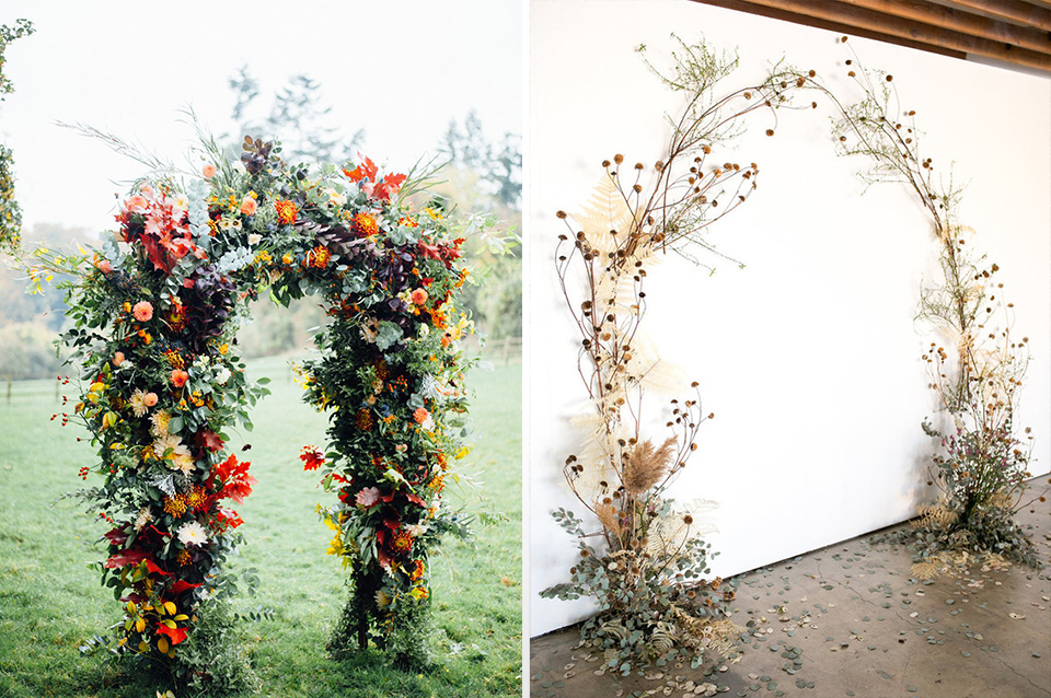 Floral arches packed with seasonal flowers and colours for the wow factor or keep it simple with branches and scattered seed heads.