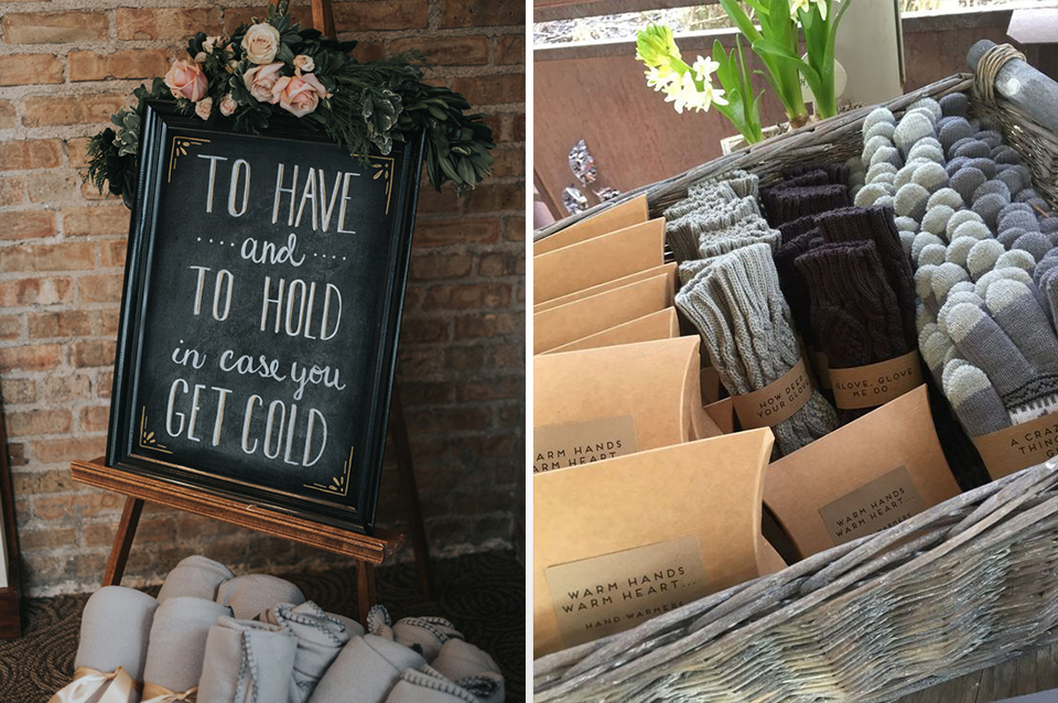 Keep your guests warm and cosy with baskets of fleecy blankets and woolly gloves at your winter barn wedding