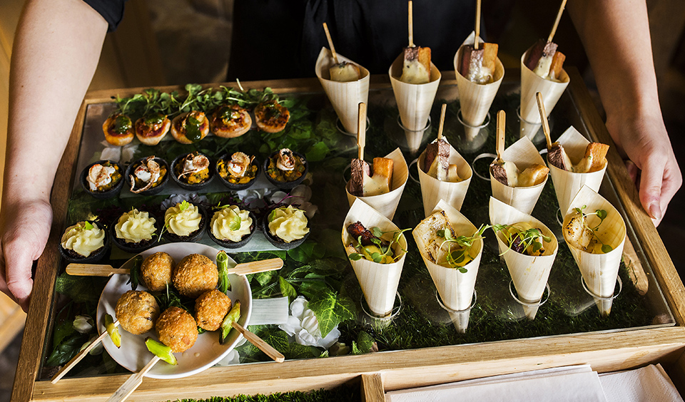 Give your guests a warm welcome with mouth-watering seasonal canapes at your winter barn wedding