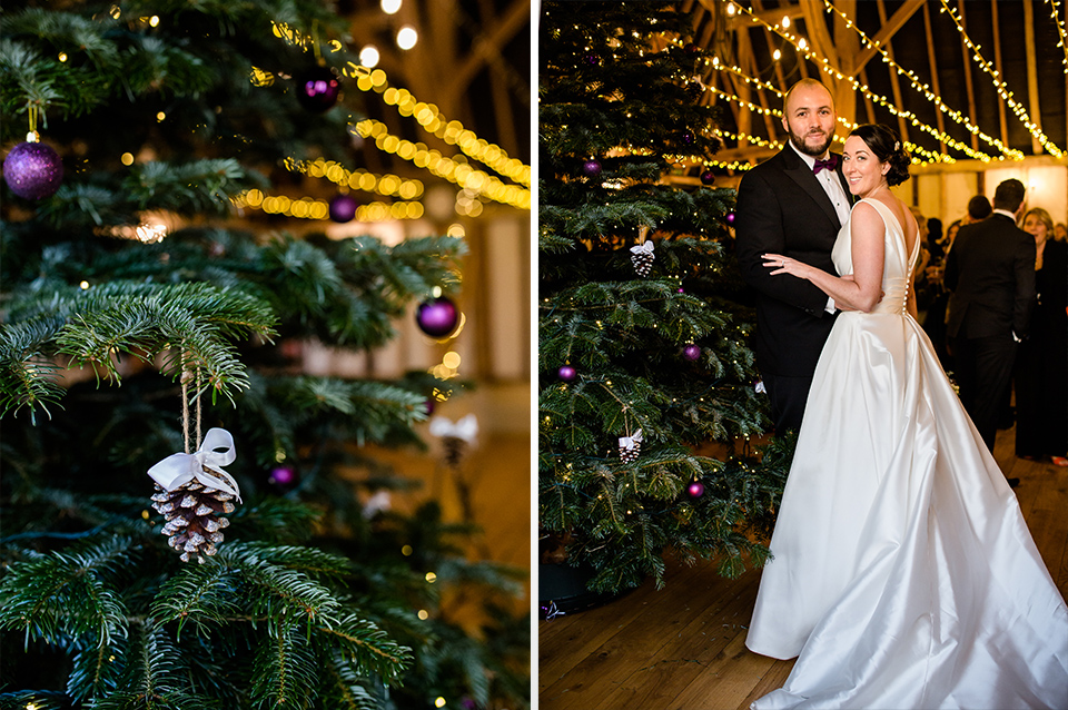 The 12ft real Christmas tree is the perfect touch to your winter wedding décor at Clock Barn in Hampshire