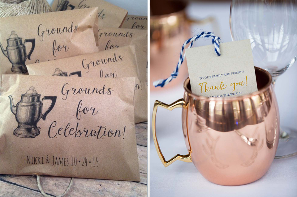 Coffee blends in personalised envelopes or hot chocolate mixes in pretty mugs are the perfect favours for your winter barn wedding