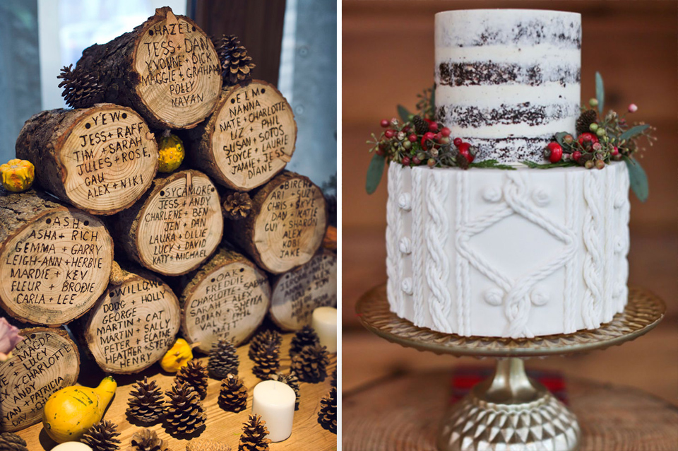 Natural items like logs and pine cones make perfect winter decorations and a knitted effect on your cake gives a lovely cosy feel to your winter barn wedding.