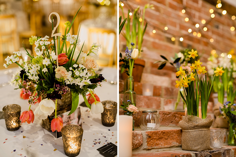 Colourful seasonal blooms look beautiful and really brighten your barn wedding at Clock Barn in Hampshire