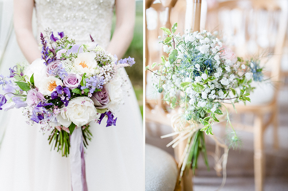 Natural, loosely tied bouquets of seasonal flowers are perfect for your rustic barn wedding in the Summer at Clock Barn
