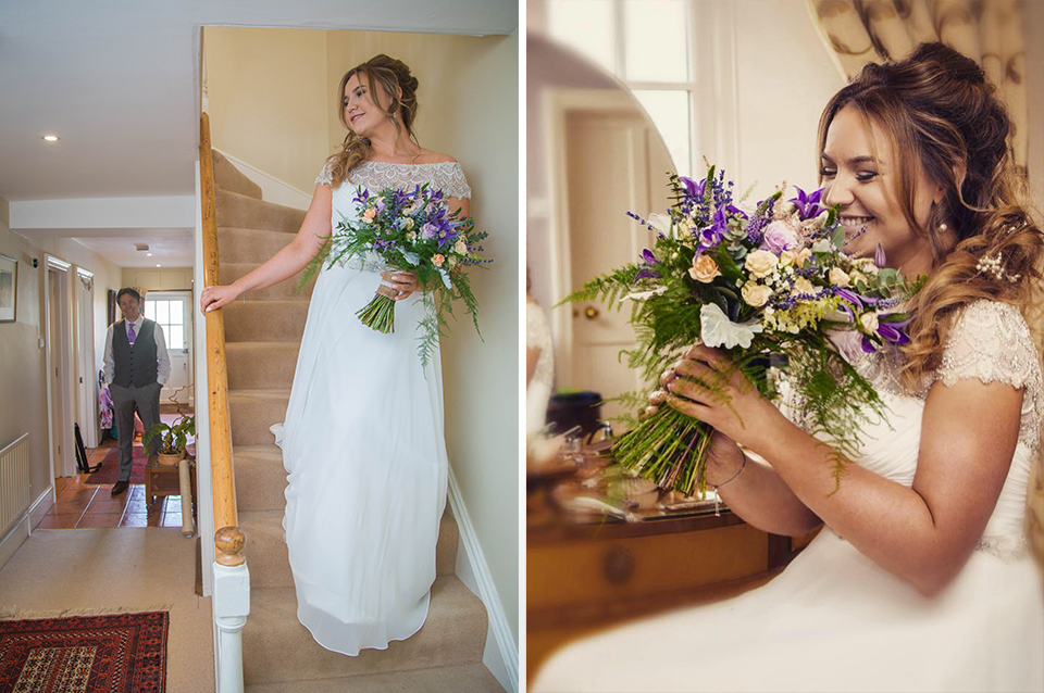 The bride's bouquet had a just-picked feel and she wore a pretty lace-tip wedding gown for her special day at Clock Barn in Hampshire