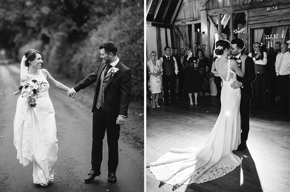 The happy newlyweds enjoy a stroll and later their first dance at their Clock Barn wedding in Hampshire